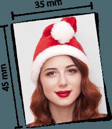 Weihnachtliches Passfoto mit Lineal