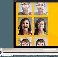 MacBook mit tauglichen und untauglichen Passbildern