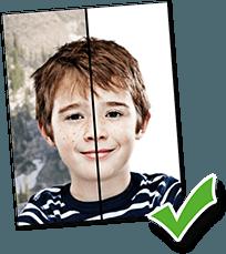 Vorher/Nachher Passfoto-Vergleich