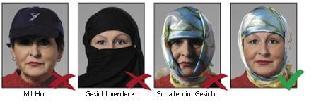Kopfbedeckungen bei biometrischen Passbildern