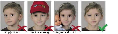 Spezielle Hinweise für Kinder bei biometrischen Passbildern