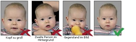 Spezielle Hinweise für Säuglinge und Kleinkinder bei biometrischen Passbildern