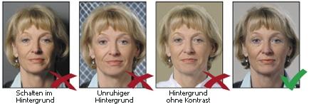 Hintergrund bei biometrischen Passbildern