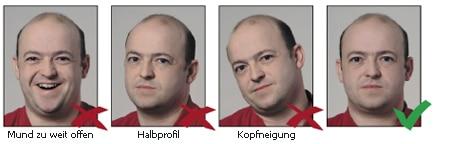 Kopfposition und Gesichtsausdruck bei biometrischen Passbildern