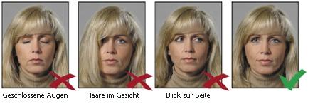 Augen und Blickrichtung bei biometrischen Passbildern
