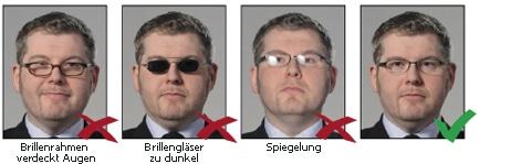 Hinweise für Brillenträger bei biometrischen Passbildern